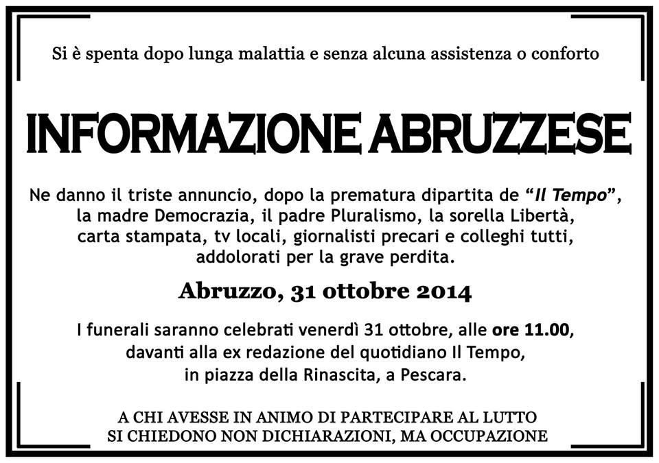 Manifesto funebre informazione abruzzese